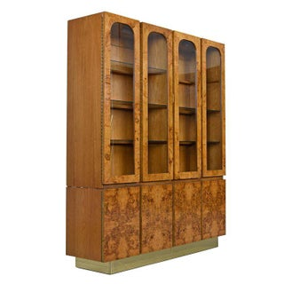 Milo Baughman Style China Hutch Cabinet Burl and Brass Hollywood Regency by Lane Preview