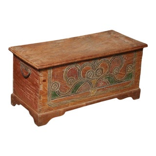 Hand-Carved and Painted Dutch Colonial Style Wedding Trunk With Painted Motifs For Sale