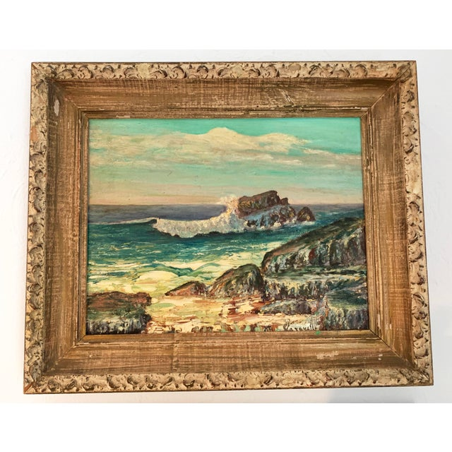 Soothing seaside colors used in this framed oil on board painting, Seascape, signed lower right Caravella (artist). Dated...