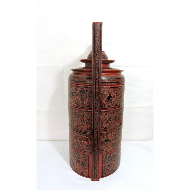 Asian 20th Century Burmese Red Lacquer Asian Wedding Food Box / Storage Chest For Sale - Image 3 of 13