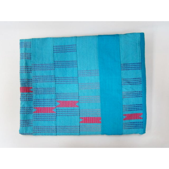 African Mali Turquoise Stitched Fabric For Sale - Image 3 of 3