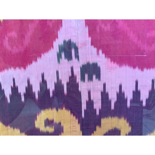Antique Silk Ikat Display in Lucite Shadowbox For Sale - Image 9 of 13