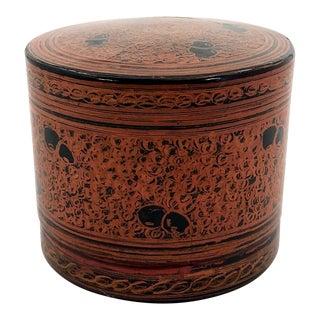 Antique Burmese Lacquer Kun-It Betel Box For Sale