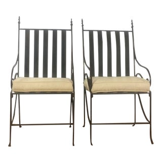 Vintage Metal Patio Armchairs - A Pair For Sale
