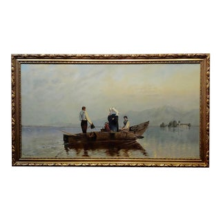19th Century Nuns River Crossing on Boat Oil Painting For Sale