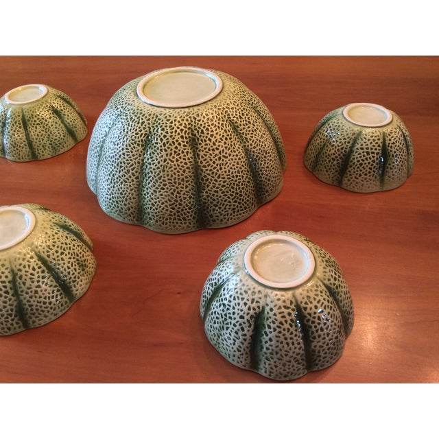 1960s Majolica Cantelope Salad Bowls - Set of 5 For Sale - Image 9 of 12