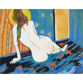 """French Model"" Contemporary Figurative Nude Ink and Gouache Painting by Martha Holden For Sale"