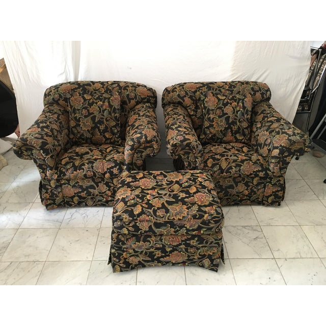 Drexel Heritage Oversized Tufted Chairs & Ottoman For Sale - Image 11 of 11