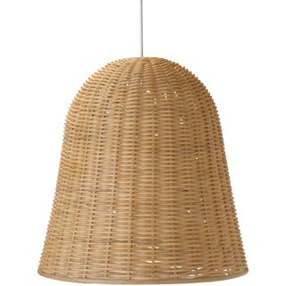 Monumental Boho Chic Rattan Wicker Pendant For Sale