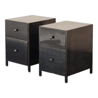 Pair of Custom Made Industrial Style Steel Night Stands For Sale