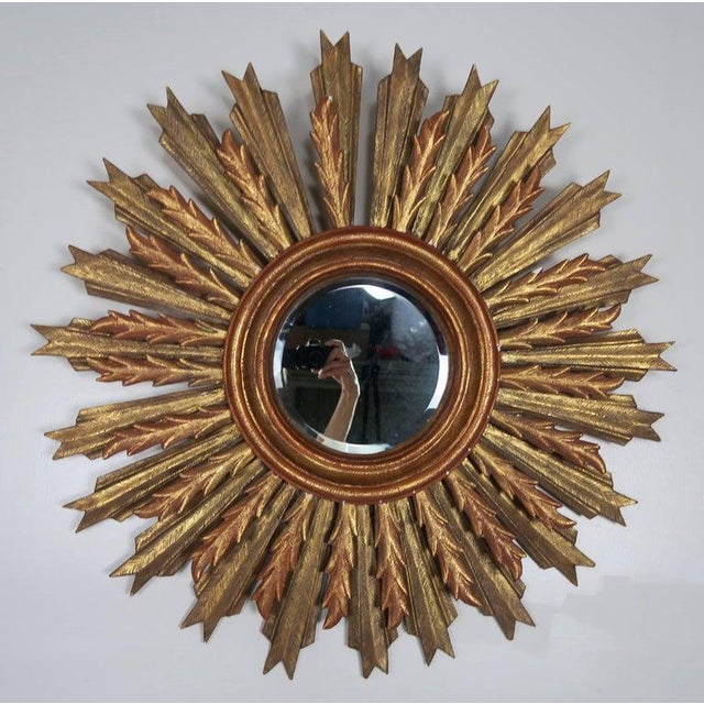Wood Spanish Carved Sunburst Mirror, Circa 1930 For Sale - Image 7 of 13
