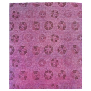Modern Afghan Overdye Rug With Pink and Purple Botanical Details For Sale