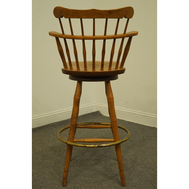 Metal Late 20th Century S Bent Bros. Gardener Solid Maple Swivel Bar Stool For Sale - Image 7 of 13