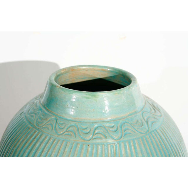 Mid Century Large Moorish Blue Ceramic Urns With Lid - a Pair For Sale In Los Angeles - Image 6 of 10