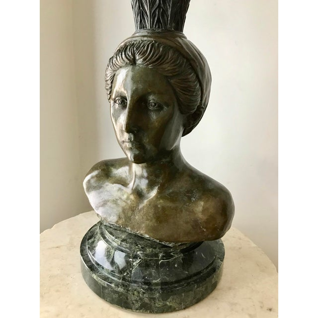 Maitland - Smith 1970s Vintage Maitland Smith Bronze Maiden Bust / Marble Candelabra For Sale - Image 4 of 8