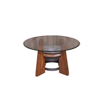 Contemporary Round Glass Top Coffee Table For Sale