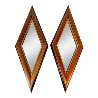 1950s Mid Century Modern Diamond Shape Wood & Gold Trim Wall Mirrors - a Pair For Sale