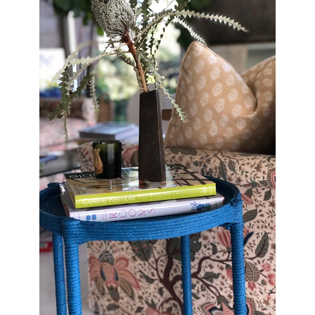Stunning rope-wrapped side table. All rope applied by hand and painted in a rich, Prussian blue.