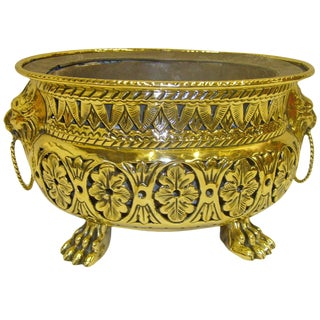 19th Century French Reticulated Jardiniere With Lion Ring Handles For Sale