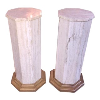 Pair Vintage Marble & Wood Pedestals For Sale
