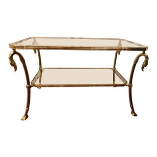 Hollywood Regency Style Brass & Glass Swan Coffee Table For Sale
