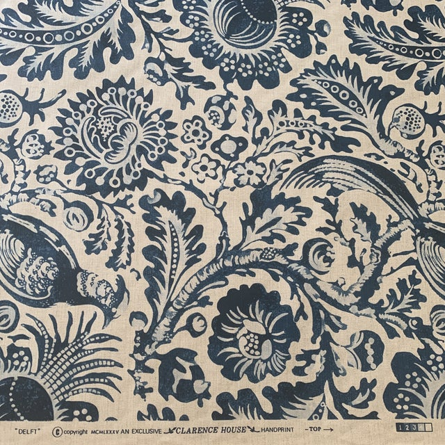 Clarence House Delft Handprint Linen Fabric- 6 Yards For Sale - Image 4 of 6
