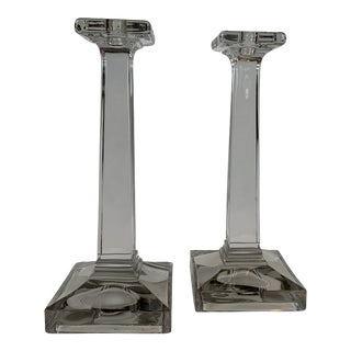 Transparent Crystal Candlesticks - A Pair For Sale