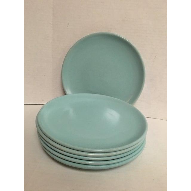 Mid Century Aqua Pottery Plates - Set of 6 - Image 6 of 8