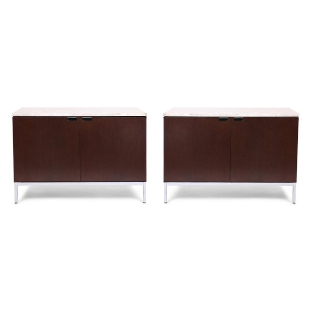Metal Knoll Chests With Calacatta Marble Tops - a Pair For Sale - Image 7 of 7