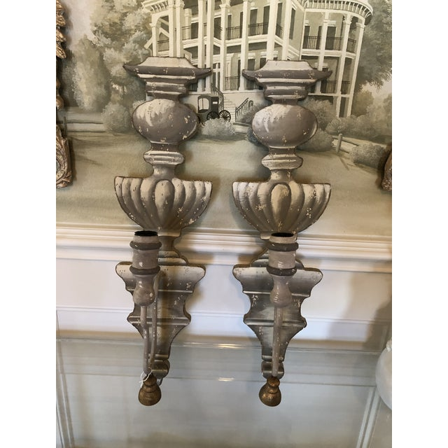 Shabby Chic Wall Mounted Candelabras - a Pair For Sale In Dallas - Image 6 of 6
