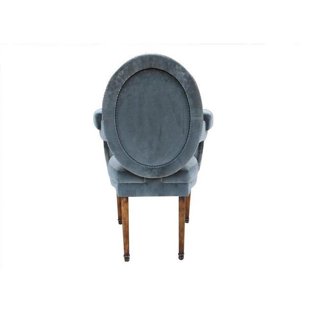 French Provence Velvet Arm Chair For Sale - Image 3 of 8