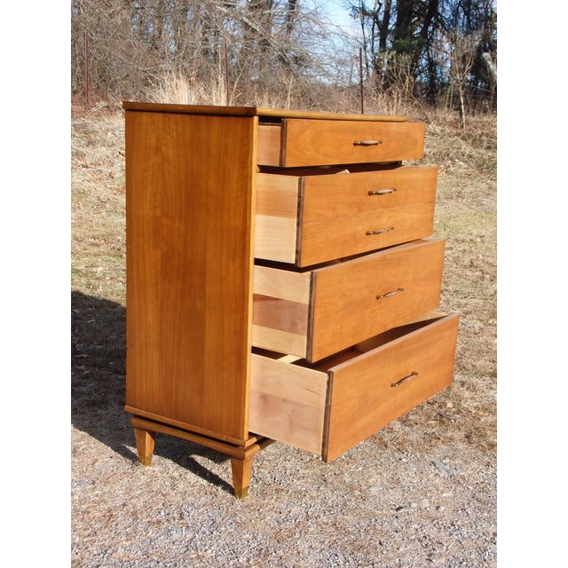 Vintage Mid Century Modern Kent Coffey Walnut Highboy Dresser Chest the Nomad For Sale In Providence - Image 6 of 13