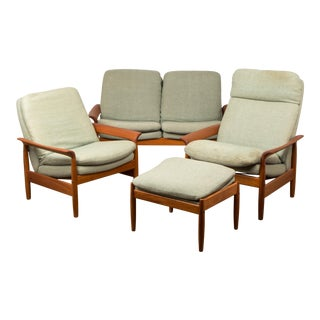 Mid-Century Danish Modern Loveseat, Lounge Chairs & Ottoman Set - 4 Pieces For Sale