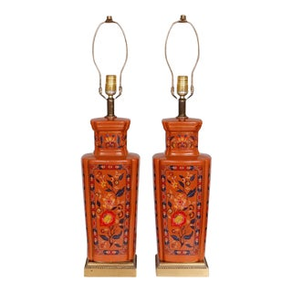 Floral Ceramic Table Lamps - a Pair For Sale