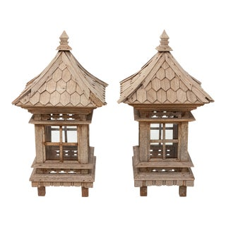 Vintage Wood Lanterns - a Pair For Sale