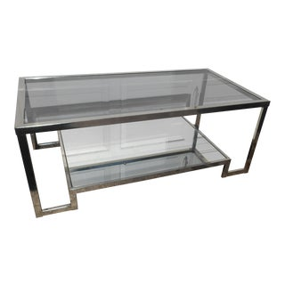 Vintage Mid-Century Modern Chrome and Smoke Glass Coffee Table For Sale