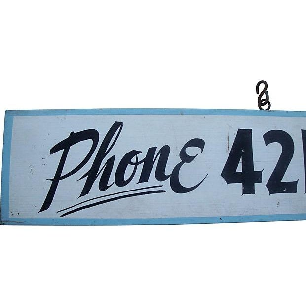 Offered is an original hand-painted rustic pine panel hanging sign, travel advertising for a motel, cabins, or campground....