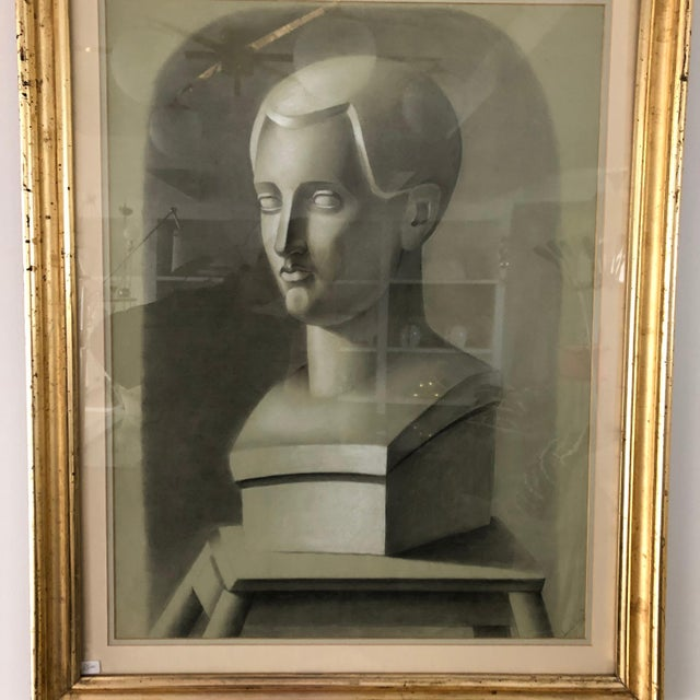 This early 20th century portrait depicts the bust of a man on pedestal, drawn from a sculptural piece in charcoal. These...