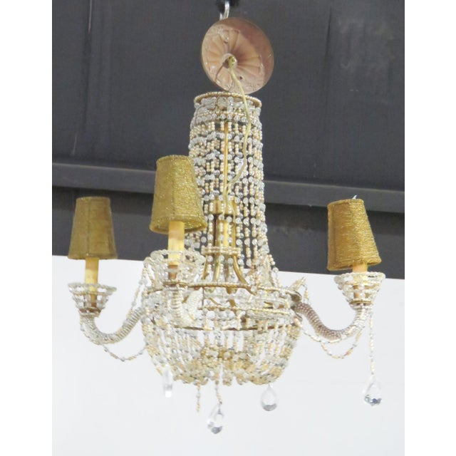 Petite French Empire Style Beaded Chandelier - Image 3 of 6