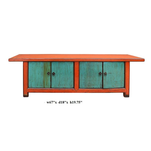 Chinese Distressed Orange Blue Low TV Console For Sale In San Francisco - Image 6 of 6