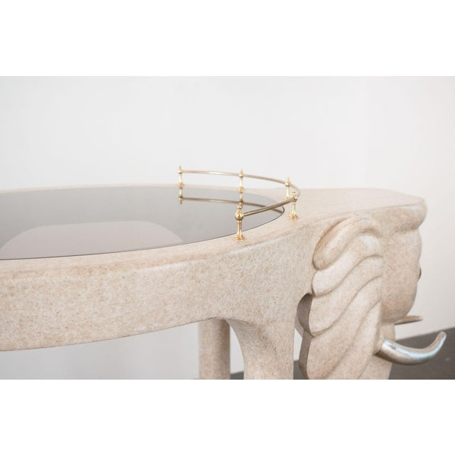 Brass Marge Carson Elephant Bar Rolling Table For Sale - Image 7 of 9