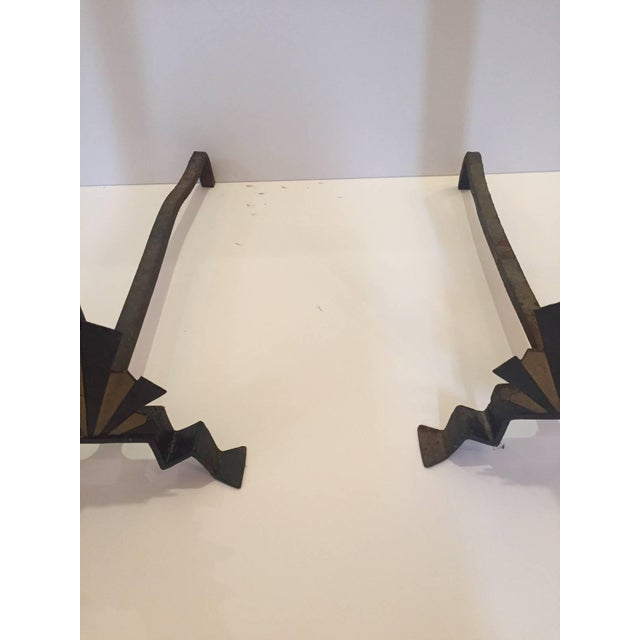 Art Deco Sensational Rare Art Deco Andirons in Black and Gold For Sale - Image 3 of 7