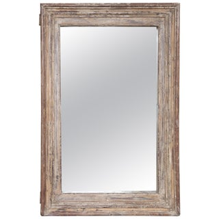 1840s Carved Teak Wood Window Frame Wall Mirror For Sale