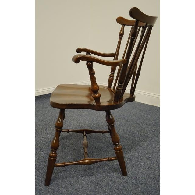 Pennsylvania House Solid Cherry Fiddleback Duxbury Windsor Arm Chair For Sale In Kansas City - Image 6 of 12