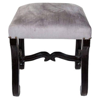 Hollywood Regency Velvet Stool with Carved Wood Base For Sale