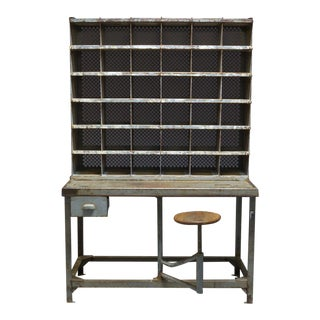 1920s French Industrial Postal Sorting Desk For Sale