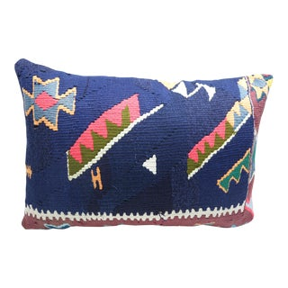 Turkish Handmade Kilim Lumbar Pillow Cover For Sale
