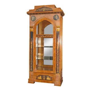 1980s Egyptian Revival Inlaid Burl Wood Curio/Display Cabinet For Sale