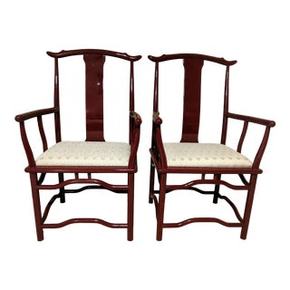 Contemporary Cinnabar Lacquer Chinese Oxbow Throne Chairs Chippendale Chinoiserrie - a Pair For Sale