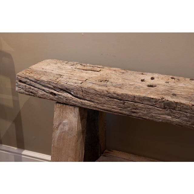 Rustic & Narrow Pine Workbench With Shelf, French, Circa 1890 For Sale - Image 4 of 5